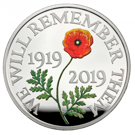 The Remembrance Day 2019 UK £5 Silver Proof Piedfort Coin reverse