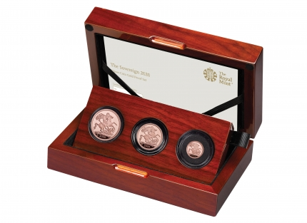 The Sovereign 2020 Three-Coin Gold Proof Set in case - Left