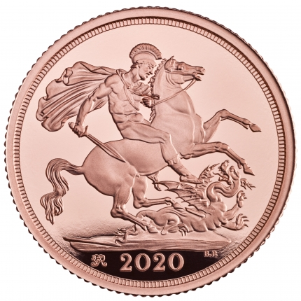 The Sovereign 2020 coin reverse tone....