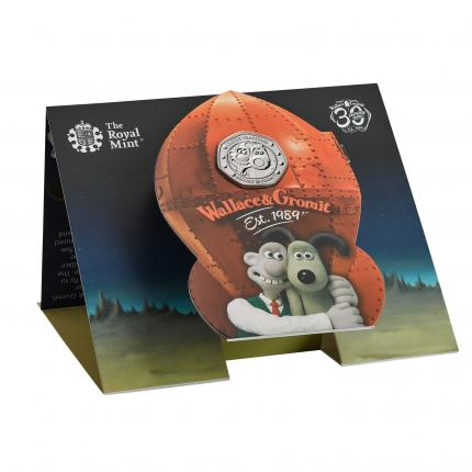 Wallace and Gromit 2019 UK 50p Brilliant Uncirculated Coin in packaging right
