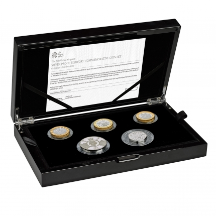 The 2020 United Kingdom Silver Proof Piedfort Coin Set in case right