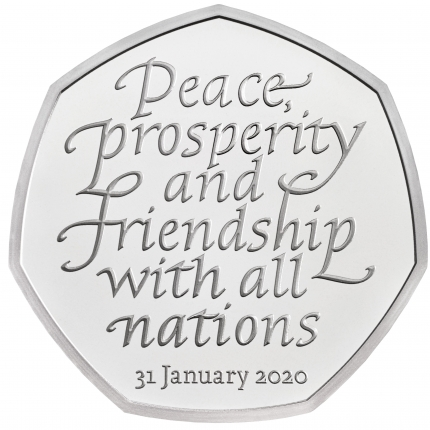 Withdrawal from the European Union 2020 United Kingdom 50p Silver Proof Coin obverse no tone