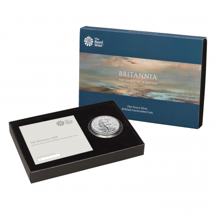 The Britannia 2020 One Ounce Silver Brilliant Uncirculated Coin in case