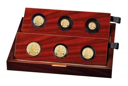 The Britannia 2020 Premium Six-Coin Gold Proof Set case left