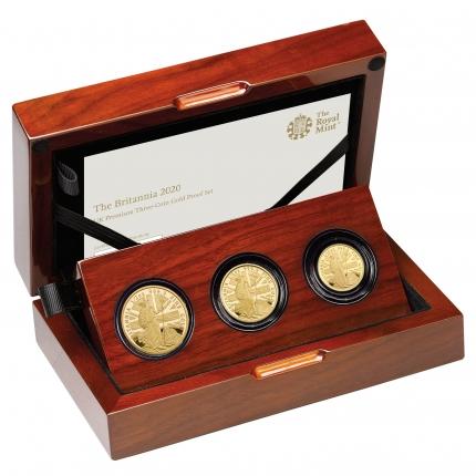 The Britannia 2020 Premium Three-Coin Gold Proof Set right