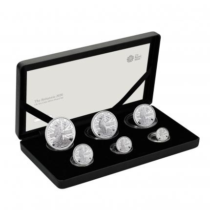 The Britannia 2019 Six-Coin Silver Proof Set case right