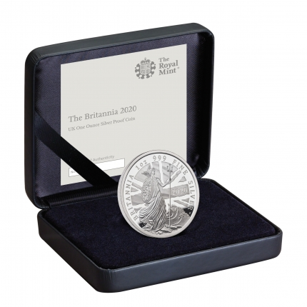 The Britannia 2020 UK One Ounce Silver Proof Coin in Case right