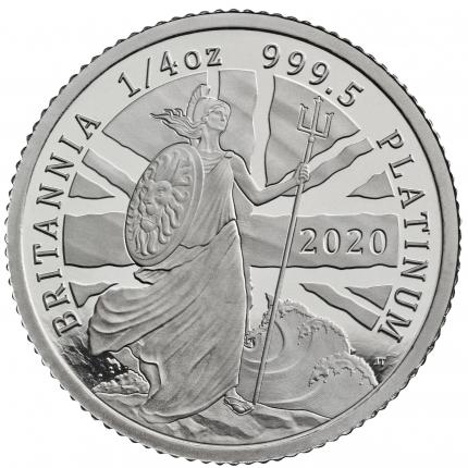 The Britannia 2020 UK Quarter-Ounce Platinum Proof Coin obverse tone