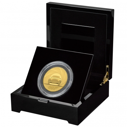 James Bond 007 Special Issue 2020 UK Five-Ounce Gold Proof Coin in case left