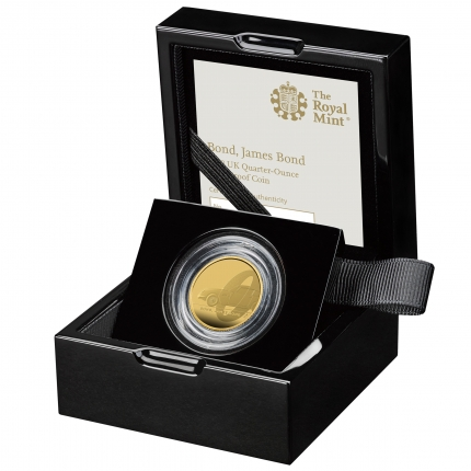 James Bond 1 Bond, James Bond 2020 UK Quarter-Ounce Gold Proof Coin in case left