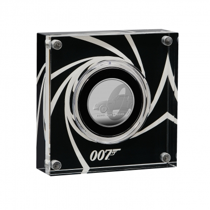 James Bond 1 Bond, James Bond  2020 UK Half Ounce Silver Proof Coin in acrylic case right