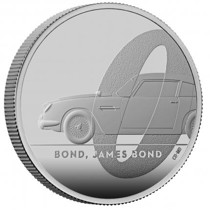 James Bond 1 Bond, James Bond  2020 UK One Ounce Silver Proof Coin reverse on edge right