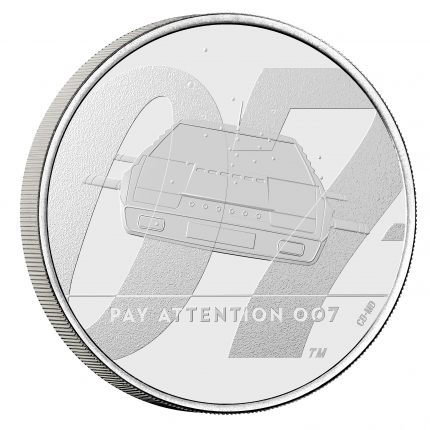 James Bond 2 Pay Attention 007 2020 UK £5 Crown Brilliant Uncirculated Coin reverse on edge