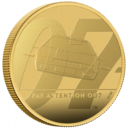 James Bond 2 Pay Attention 007 2020 UK One Ounce Gold Proof Coin reverse on edge right