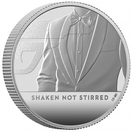 James Bond 3 Shaken Not Stirred 2020 UK Half Ounce Silver Proof Coin reverse on edge right