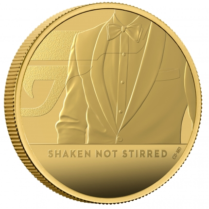 James Bond 3 Shaken Not Stirred 2020 UK One Ounce Gold Proof Coin reverse with edge right