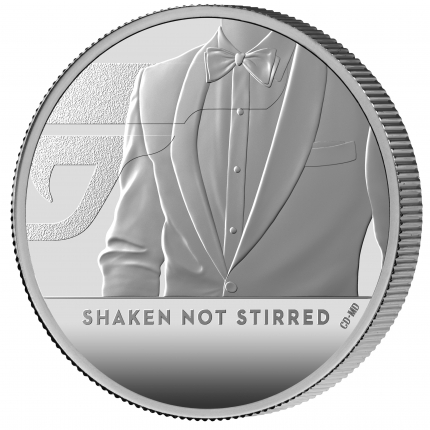 James Bond 3 Shaken Not Stirred 2020 UK One Ounce Silver Proof Coin reverse on edge left