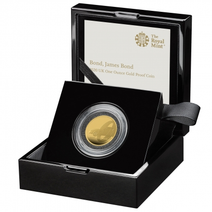 James Bond  1 Bond, James Bond 2020 UK One Ounce Gold Proof Coin in case left