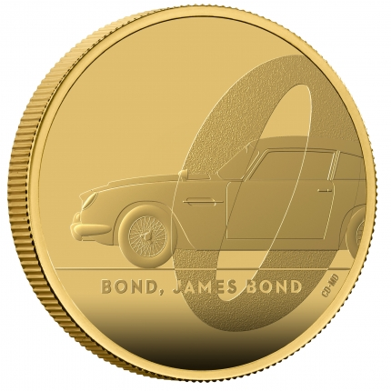 James Bond  1 Bond, James Bond 2020 UK One Ounce Gold Proof Coin reverse with edge right