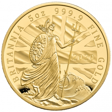 The Britannia 2020 UK Five-Ounce Gold Proof Coin reverse tone