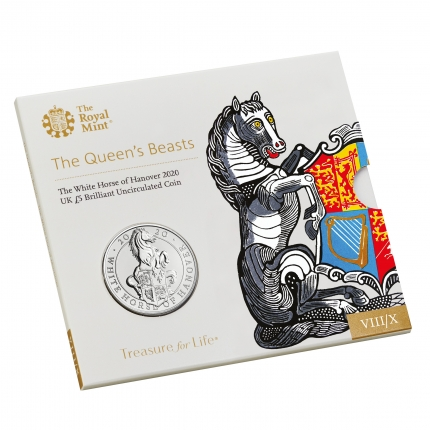 The Queen's Beasts The White Horse of Hanover 2020 UK £5 Brilliant Uncirculated Coin pack sleeve front