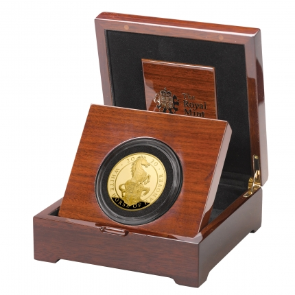 The Queen's Beasts The White Horse of Hanover 2020 UK Five-Ounce Gold Proof Coin in case left