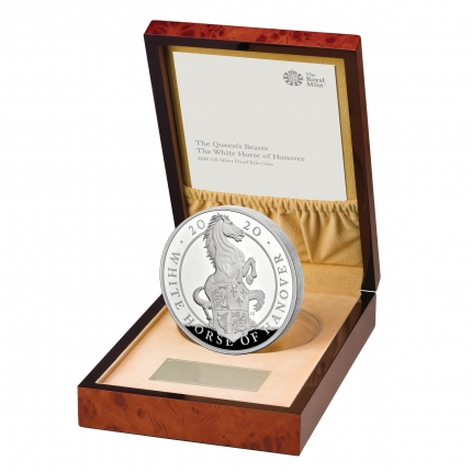 The Queen's Beasts The White Horse of Hanover 2020 UK Silver Proof Kilo Coin reverse in case left