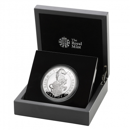 The Queen's Beasts The White Horse of Hanover 2020 UK Five-Ounce Silver Proof Coin in case left
