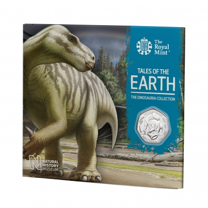 Iguanodon 2020 UK 50p Brilliant Uncirculated Coin packaging front