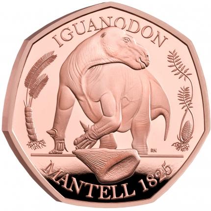 The Dinosauria Collection - Iguanadon 2020 UK 50p Gold Proof Coin reverse on edge - UK20IGGP