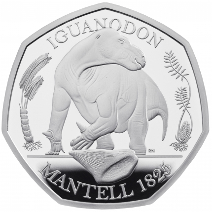 The Dinosauria Collection - Iguanodon 2020 UK 50p Silver Proof Coin reverse