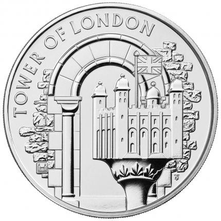 The Tower of London Collection - The White Tower 2020 UK £5 Brilliant Uncirculated Coin reverse - UK20WTBU...