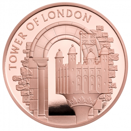 The Tower of London Collection - The White Tower 2020 UK £5 Gold Proof Coin reverse tone...