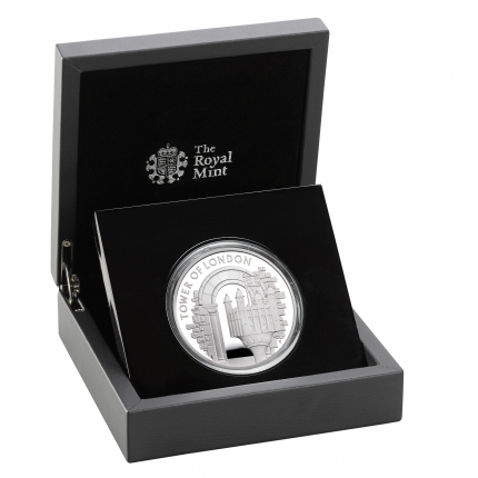 The Tower of London Collection - The White Tower 2020 UK £5 Silver Proof Coin in case right.