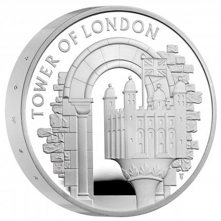 The Tower of London Collection - The White Tower 2020 UK £5 Silver Proof Piedfort Coin reverse tone with edge ...