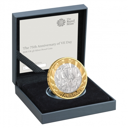 75th Anniversary of VE Day 2020 UK £2 Silver Proof Coin in case right - UK20VESP