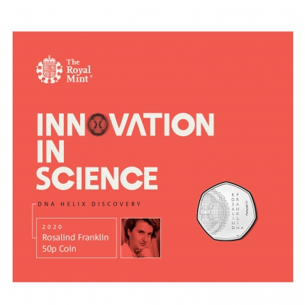 Rosalind Franklin 2020 UK 50p Brilliant Uncirculated Coin	in packaging front