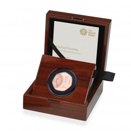 Rosalind Franklin 2020 UK 50p Gold Proof Coin in case left