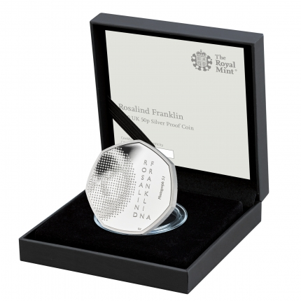 Rosalind Franklin 2020 UK 50p Silver Proof Coin in case left