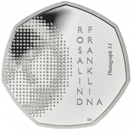 Rosalind Franklin 2020 UK 50p Silver Proof Coin reverse tone