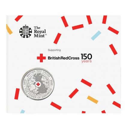 The 150th Anniversary of the British Red Cross UK £5 Brilliant Uncirculated Coin in packaging front