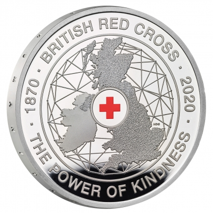 The 150th Anniversary of the British Red Cross UK £5 Silver proof coin reverse with edge...