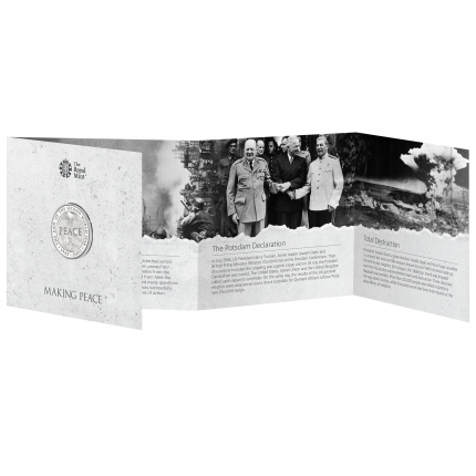 75th Anniversary of the End of the Second World War 2020 UK £5 Brilliant Uncirculated Coin in packaging front open