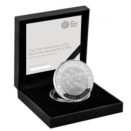 75th Anniversary of the End of the Second World War 2020 UK £5 Silver Proof Coin in case right