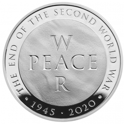 75th Anniversary of the End of the Second World War 2020 UK £5 Silver Proof Coin reverse tone