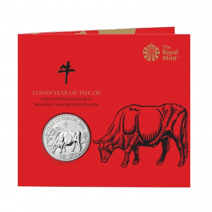 Lunar Year of the Ox 2021 United Kingdom £5 Brilliant Uncirculated Coin pack front