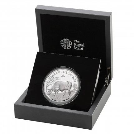 Lunar Year of the Ox 2021 United Kingdom Five-Ounce Silver Proof Coin reverse in case left