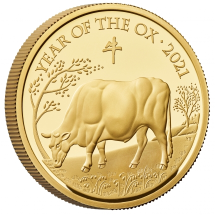 Lunar Year of the Ox 2021 United Kingdom One Ounce Gold Proof Coin reverse tone with edge