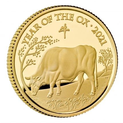Lunar Year of the Ox 2021 United Kingdom Quarter-Ounce Gold Proof Coin reverse edge - UKO21QO