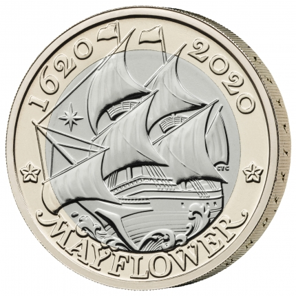 Mayflower 400 - 2020 UK £2 Brilliant Uncirculated Coin reverse with edge left